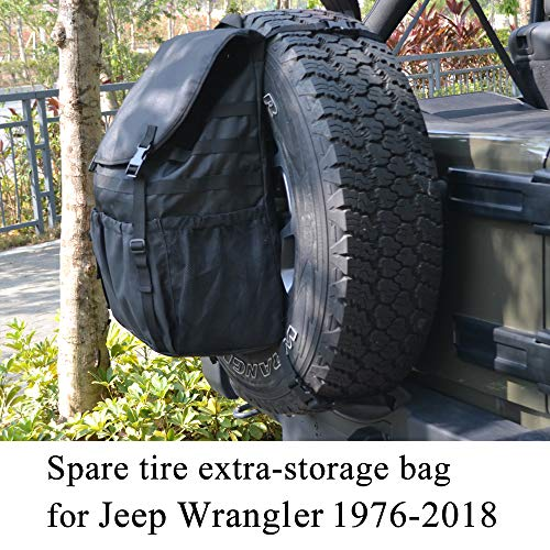 2007 Backpack Bag - JoyTutus Fits Jeep Wrangler Spare Tire Trash Bag Backpack for JK JKU YJ TJ Cargo Storage Bag