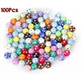 Beads-SODIAL(R) Pack 100 Acrylic Plastic Beads stained with Strass Glitter 10mm