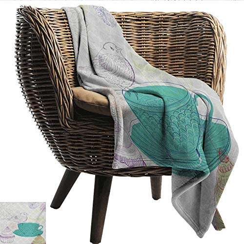 - EwaskyOnline Tea Party Comfort Blanket Floral Elements and a Cute Bird in Pale Colored English Tradition Nature Image car/Airplane Travel Throw 91