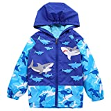 Toddler Boys 1-6Y Shark and Skull Hooded Jacket Waterproof Lightweight Raincoat Outerwear (Shark, Size 110:3-4Years)