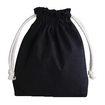 Kentop - Bolsa de tela con cordón para joyas, bolsa de tela vintage, color sólido, bolsa para bodas, fiestas, bolsas de regalo 17.5 * 20CM Negro