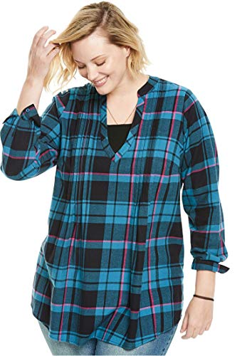 Woman Within Plus Size Pleat Front Notch Neck Plaid Flannel Tunic - Blue Teal Plaid, (Teal Plaid Flannel)