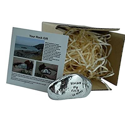 Pirantin 12th Anniversary You are My Rock Gift Idea - Solid Metal Heavy Polished Rock Gift for 12 Year Anniversary : Garden & Outdoor