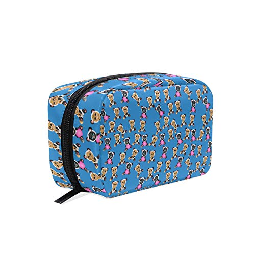 Admirable Women Cat In Pandas Costume Blue Small Makeup Bag for Portable Traveling Square Nylon black Cosmetic Pouch Kits Toiletry Bag ()