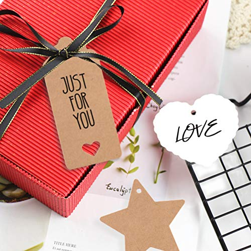 150 PCS Kraft Paper Gift Tags Kraft Hang Tags with String Great as Christmas Gift Tags, Wedding Favor Tags, Birthday Gift Tags, Baby Shower Favor Tags,or Other Place Name Cards.