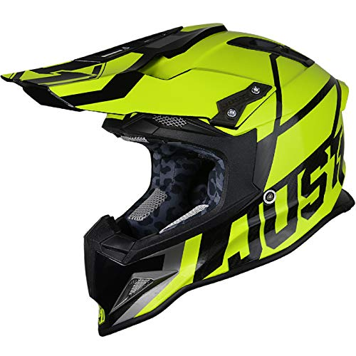 JUST1 J12 Unit Carbon Fiber Shell Off-Road Adult Motorcross Motorcycle helmet (Gloss Black Trans, Carbon Unit Yellow Fluo-Large)