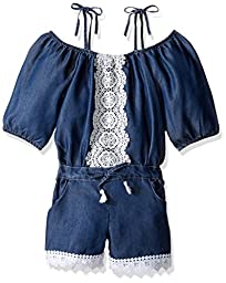 Limited Too Big Girls\' Off the Shoulder Romper, 2740-Medium Blue Denim, 7/8