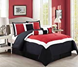 7 Piece Burgundy Red / Black / White Color Block Comforter set 90