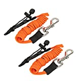 Merssyria Kayaking Safety Rope, Kayak Safety Bungee Paddle Leash Adjustable Fishing Rod String Orange 2 PCS