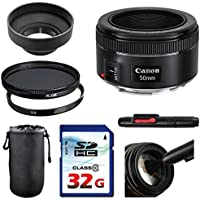 Canon EF 50mm f/1.8 STM Lens Bundle + UV Filter + Polarizer Filter + 2 In 1 Lens Cleaning Pen + High Speed 32GB Memory Card + Tulip Hood + Deluxe Lens Case