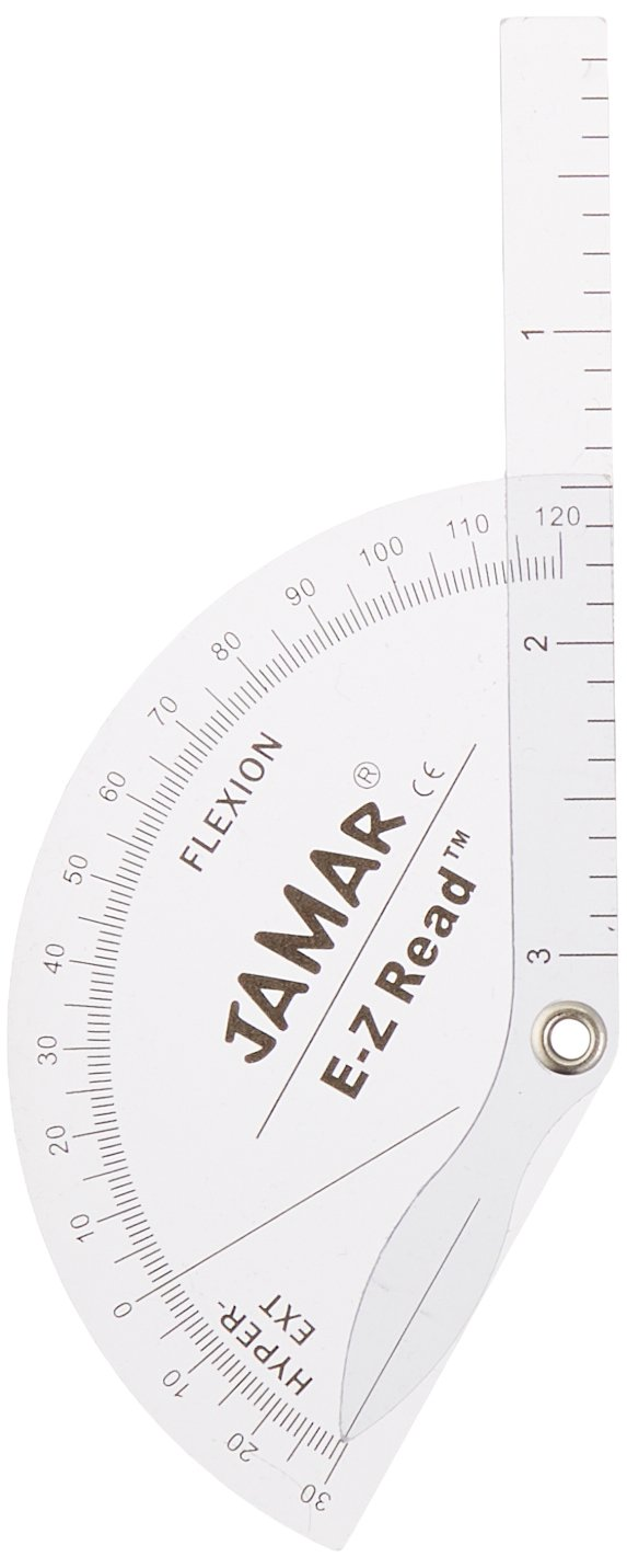 Jamar Flexion Hyperextension Finger Goniometer, Professional Grade Manual Hand and Finger Range of Motion Tool for Accurate Angle Measuring, Protractor for inch & Centimeter Linear Measurement