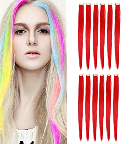 HairPhocas 6 Pcs 20'' Party Highlights Straight Clip in Synthetic Hair Extensions (Red) - 20' Synthetic Rollers