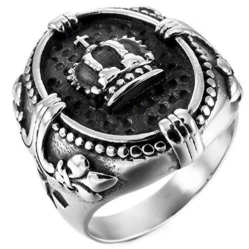 INBLUE Men's Stainless Steel Ring Silver...