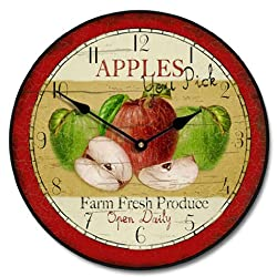 Vintage Apple Wall Clock, Available in 8 sizes, Most Sizes Ship 2 - 3 days, Whisper Quiet.