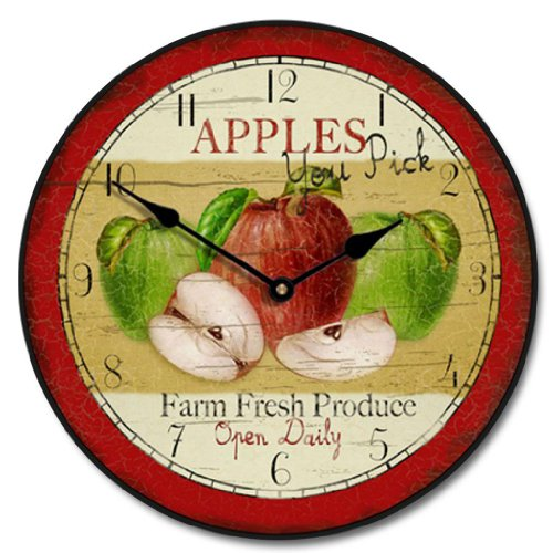 Vintage Apple Wall Clock, rustic vintage metal wall decor