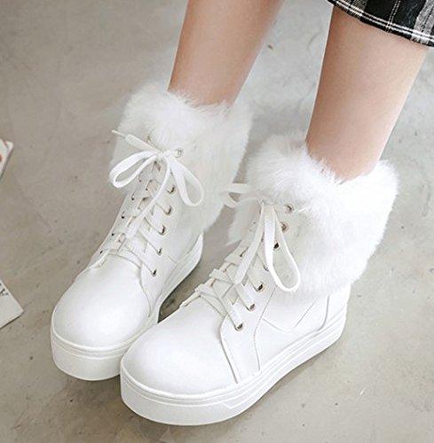 Fourrure Talon Plateforme Plat Blanc Epais Confort Femme Bottines Aisun PqnaEXP