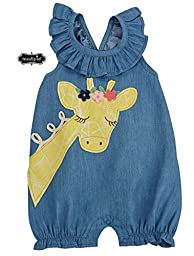 Mud Pie Baby Girls\' Bubble Romper, Giraffe, 6-9 Months