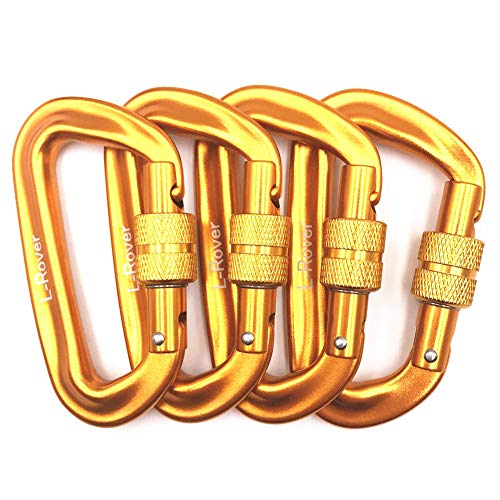 L-Rover 12 kN Aluminum Wire Gate Carabiners 2 or 4 Pack- Heavy Duty, 2,645-pound Rating for Hammocks, Rv,Fishing,Locking Dog Leash and Harness, Camping, Photography, Key Chains,Hiking & Utility -
