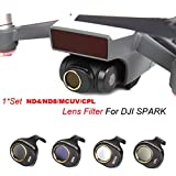 Inverlee MCUV/CPL/ND4/ND8 4 Pcs for DJI SPARK Drone Gimbal Camera HD Lens Filter Helicopter Accessories (Black)