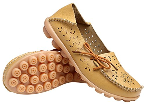 Ujoowalk Cuir De Vachette Pour Femme Évider Décontracté Chaussures De Conduite Plates Mocassins Jaunes