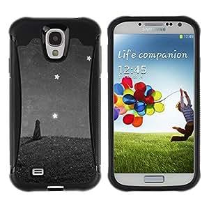 Suave TPU Caso Carcasa de Caucho Funda para Samsung Galaxy S4 I9500 / Cat Painting Stars Wonder Grey Gray / STRONG