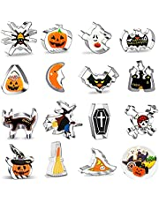 SunAurora 15 Stuks Halloween Koekjessnijders Set,Rvs Fondant Cookie Cutter,DIY Cookie Mold, Holiday Cookie Cutter