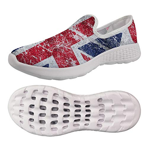 (Water Shoes Union Jack Flag Women's Walking Shoes Sport Sneakers Breathable Mesh Loafers Size US 7 for Girls)