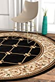 Patrician Trellis Black Lattice 8 Round (7'10'' Round) Area Rug European French Floral Formal Traditional Area Rug Easy Clean Stain Fade Resistant Shed Free Modern Classic Thick Soft Plush Rug