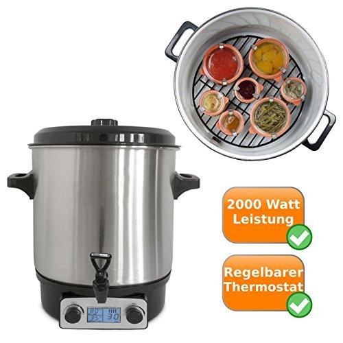 Digitale in Acciaio Inox, einkoch pentola utilizzabile come Vin Brulé pentola, einweck Pot, Pentola di zuppa, Hot Dog della Pentola, con rubinetto e una capacità di 27litern, adatta anche per zuppe e bevande calde Kochtopf