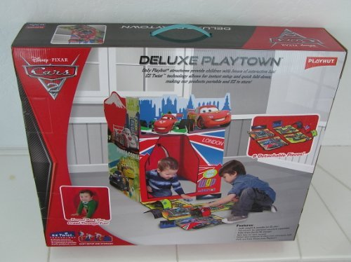 Fold Playhut (Disney Pixar Cars 2 Deluxe Playtown by Playhut. Twist 'N Fold Pop up set up with 9 detachable pieces and tunnel port for crawl through fun. Includes Playmat with roads and tunnels.)