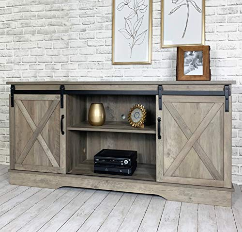 Farmhouse Living Room Furniture Farmhouse Sliding Barn Door TV Stand for TVs up to 65″, Home Living Room Entertainment Center, Wood Storage Cabinet with Doors and Shelves, Washed Oak farmhouse tv stands