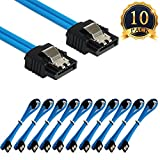 SUBANG 10 Packs 18 Inches SATA III 6.0 Gbps Data Cable with Locking Latch Blue