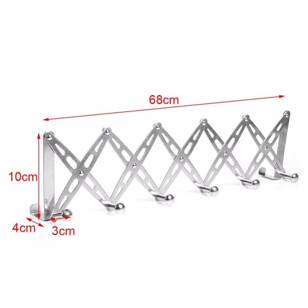 304 Stainless Steel Telescopic Over The Door Hook Organizer Rack Hanging Towel Rack Over Door, 6 Hooks 1 Pack