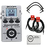 Zoom MS50G MultiStomp Guitar Effects Pedal + 2x Patch Cables + 2x Instrument Cables (5 items)