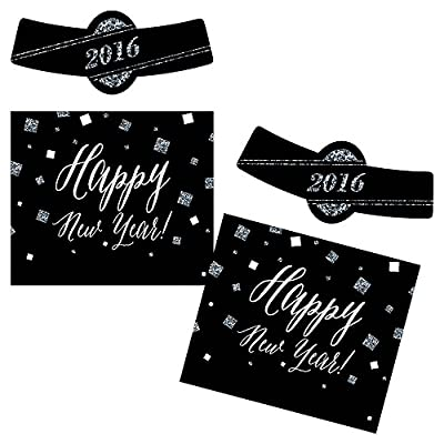 New Years's Eve - Silver - Holiday Personalized Beer Bottle Label Stickers - Set of 6