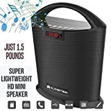 Audster Portable Bluetooth Speaker Super Sound Thumping Bass HandsFree Talk LED Display USB Connection Outdoors Indoors Pool Beach Office Party Events (BLACK)