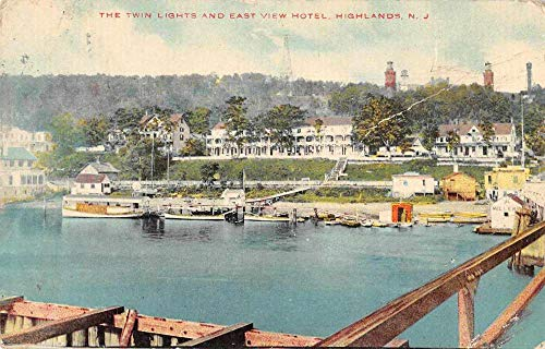 Highlands New Jersey The Twin Lights and East View Hotel Postcard JC627985