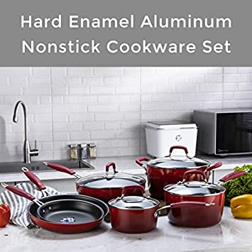 The Pioneer Woman Vintage Speckle 24-Piece Mother s Day Cookware Combo Set Red