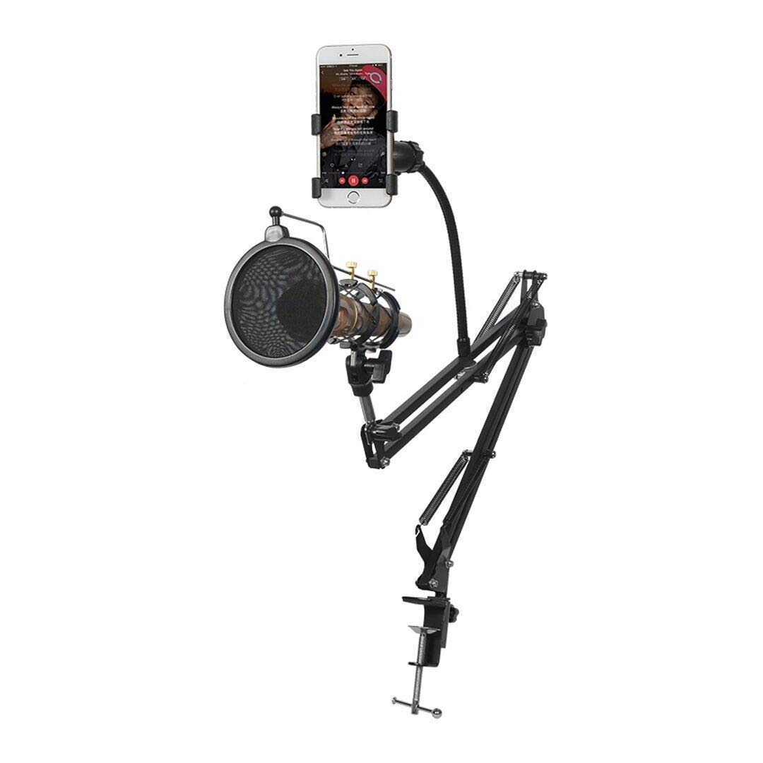 Desktop Microphone Stand with Metal Base Fixed,Mic Pop Filter,Detachable Universal Cell Phone Holder,Adjustable Suspension Boom Scissor Arm Stands for Radio,Broadcast,Studio and Recording