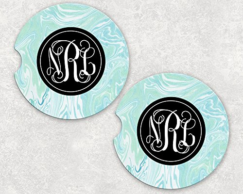 Monogrammed Car Coasters - Absorbent Sandstone - Blue Paint Swirl (SET of 2)