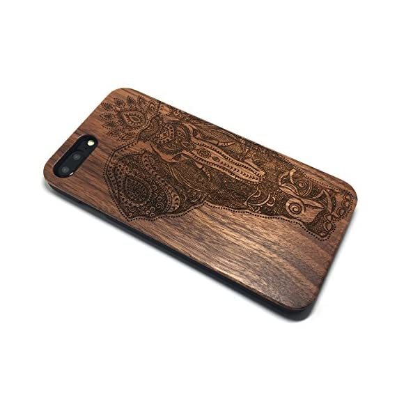 iPhone 7 PLUS Case,BTHEONE Real Natural Wood Cover for iPhone 7 PLUS Unique Handmade Cute Protective iPhone 7 PLUS Case (5.5 Inch) (Walnut-Elephant) 2 √ Compatible with iPhone 7 (Not for iPhone7 Plus) √ Naturally wood different,each wood back has a unique grain and texture. √ Specially designed for iPhone 7, has precise design for speakers, charging ports, audio ports and buttons.