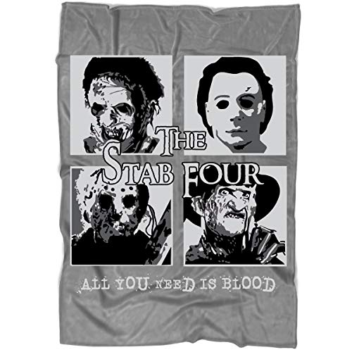 CNTSTORE The Stab Four Halloween Blanket for Bed and Couch, All You Need is Blood Blankets - Perfect for Layering Any Bed (Large Blanket (80