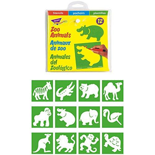 Trend Enterprises, Inc. T-65005BN Zoo Animals (English/Spanish/French) Stencils, 12 Designs per Set, 6 (Turtle Cut Out Design)