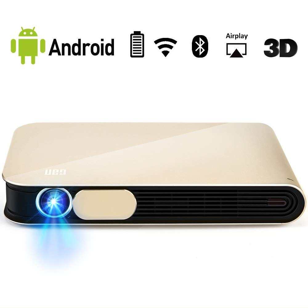 WOWOTO CAN Pro Mini Projector 3D Support1080P Bluit-in Battery 4000 Lumens with WiFi Bluetooth Android OS AirPlay HDMI USB AV Portable Projector with ...