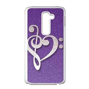 LG G2 Cell Phone Case White Purple Glitter Musical Heart Cahzm