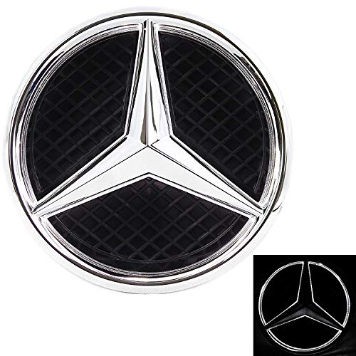 Patricon Xenon White LED Illuminated Logo Car Front Grilled Star Emblem for Mercedes Benz 2013-2018 A/B/C/CLS/E/GLK/GL/R Series Center Front Badge Lamp Light ()