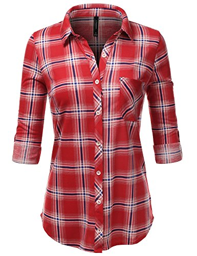 JJ Perfection Womens Long Sleeve Collared Button Down Plaid Flannel Blouse Shirt REDROYAL S