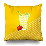 ONELZ Strawberry Lemon Juicy Square Decorative Throw Case, Fashion Style Zippered Cover (20X20 inch)