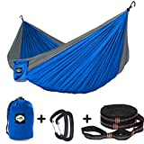 Nordmiex Double Camping Hammock With Tree Straps - Portable Parachute Hammock for Two Persons,Include 9' Heavy Duty Hammock Tree Straps and Premium Aluminum Carabiners,118''(L) x 78''(W)