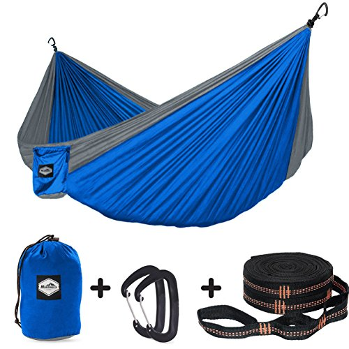 Nordmiex Double Camping Hammock With Tree Straps - Portable Parachute Hammock for Two Persons,Include 9' Heavy Duty Hammock Tree Straps and Premium Aluminum Carabiners,118''(L) x 78''(W) by Nordmiex